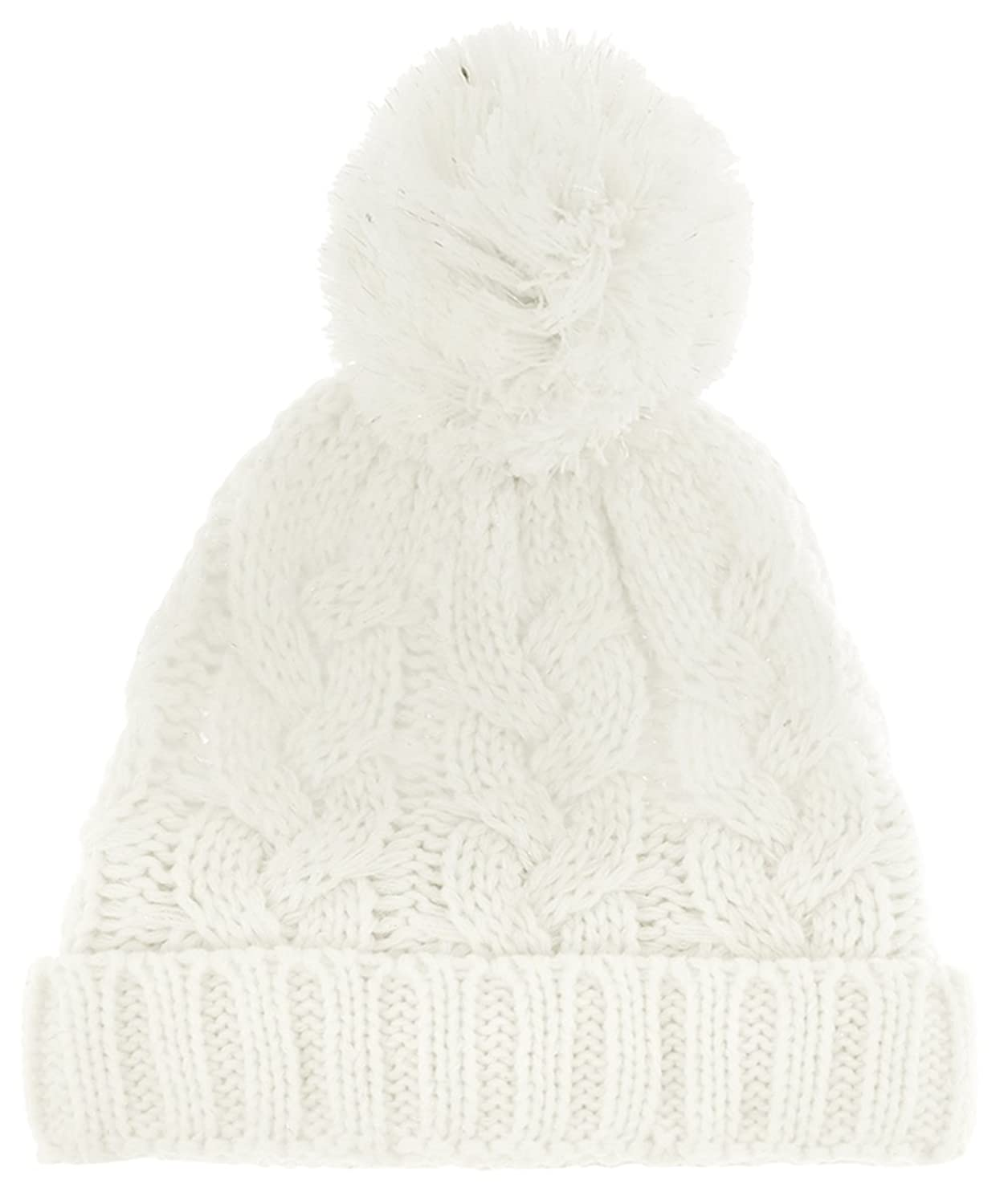 Capelli New York Chunky Cable With Metallic Yarn Soft Acrylic Cuff Hat With Pom