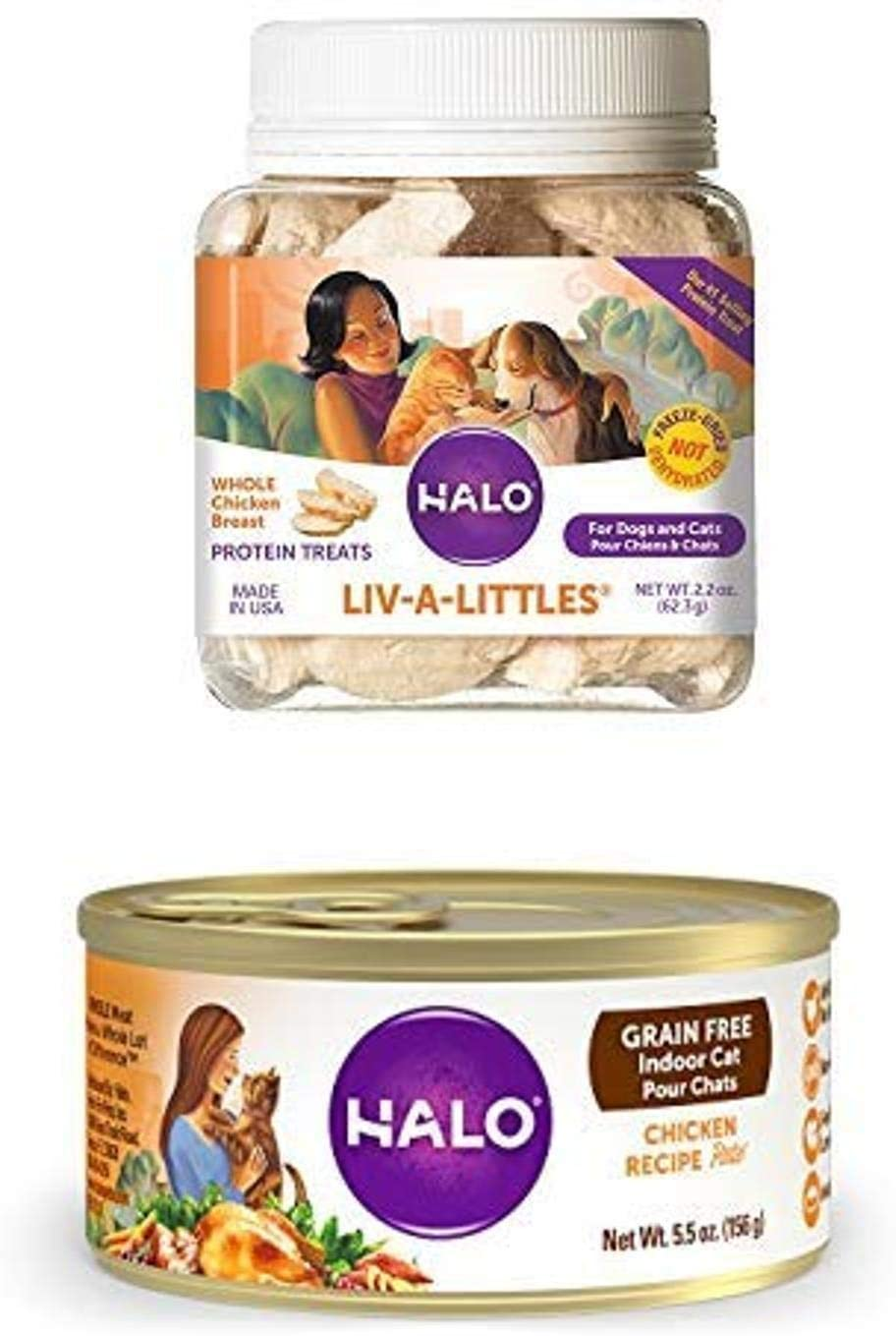 Halo Liv-A-Littles Grain Free Natural Dog Treats & Cat Treats, Freeze Dried Chicken Breast, 2.2-Ounce Plus Halo Grain Free Natural Wet Cat Food, Indoor Chicken Recipe, 5.5-Ounce Can (Pack of 12)