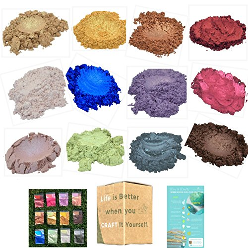 Mica Powder - Best Selling 12 Pigments - Bulk Size 4.3 oz for Soap, Candle, Bath Bomb, and Resin Making Natural Dye - Soap Supplies by how to look PRETTY