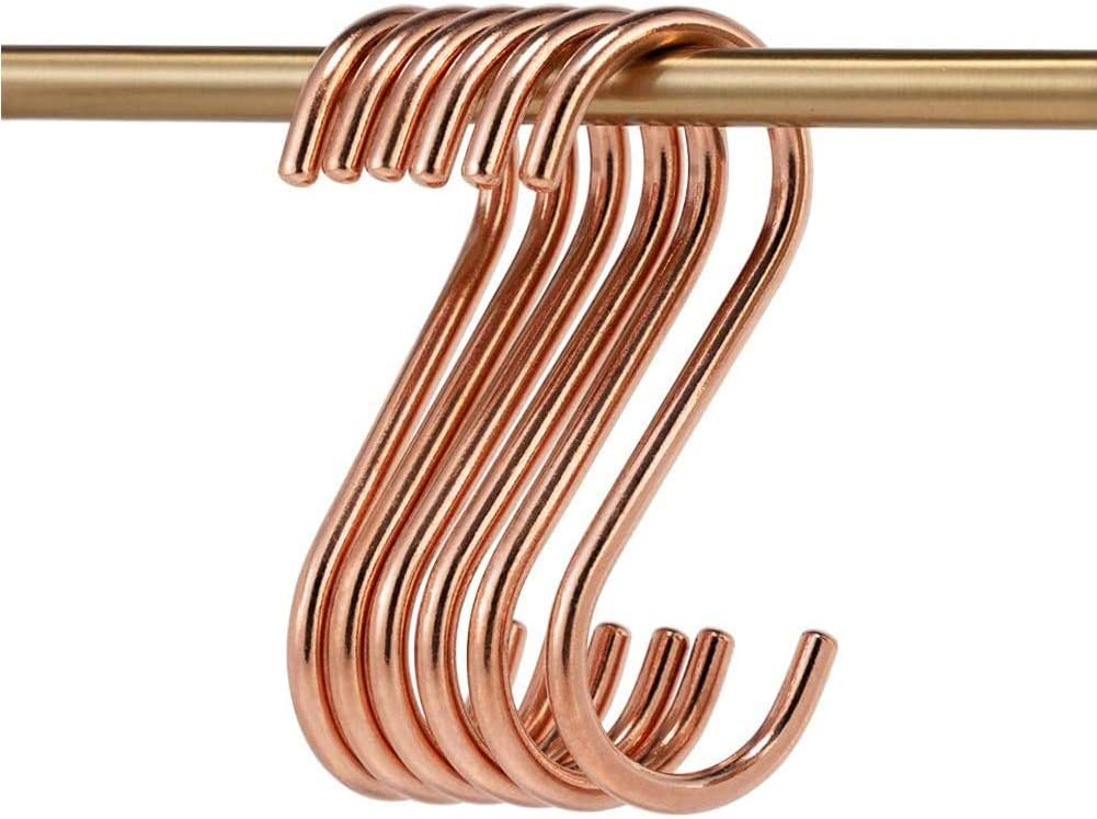 Kyien 8 Pieces Brass S Hooks Heavy Duty Kitchen Garden Multi Purpose Storage Hooks Hangers