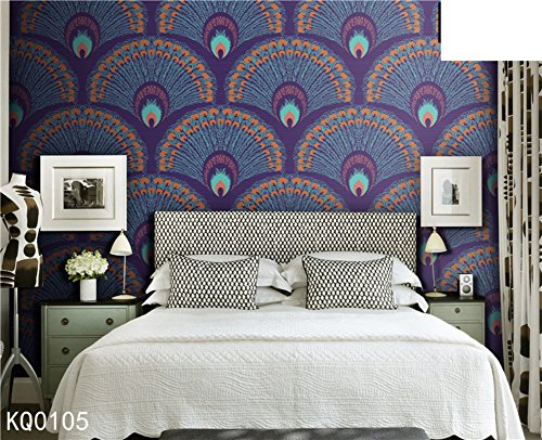 The bedroom wallpaper Peacock feather plain-paper romance/living room background wall wallpaper-E