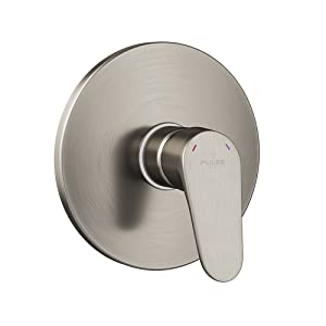 "PULSE ShowerSpas 3001-RIV-PB-BN Tru-Temp Mixing Valve, Pressure Balance Rough-In Valve Trim Kit, Round, 1/2"" NPT, Brushed Nickel"