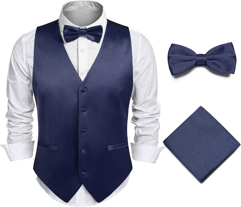 JINIDU Men's 3pc Business Satin Suit Vest Set Bowtie Hanky Wedding Waistcoat Jacket