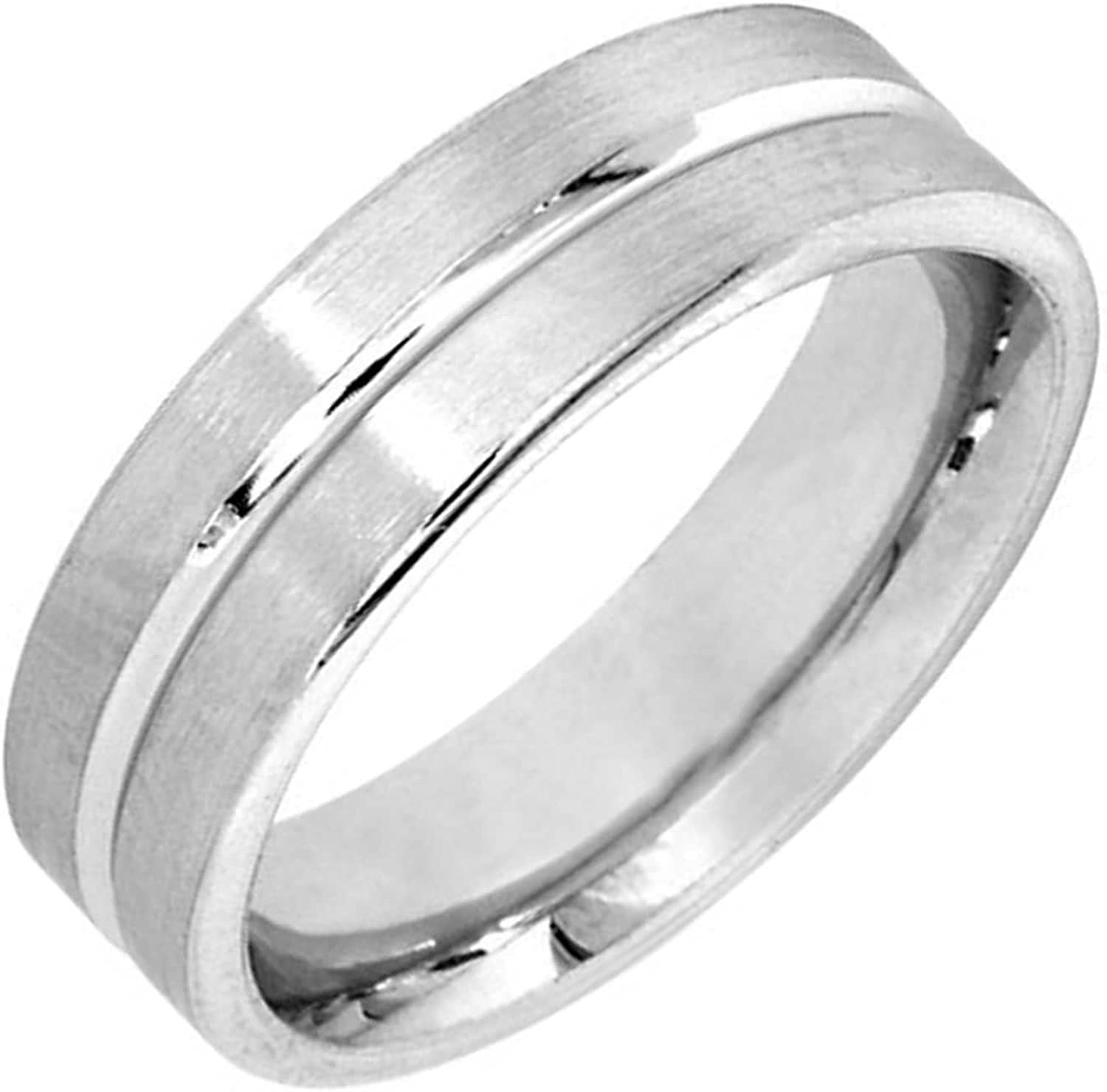 Stainless Steel Diamond-Cut Striped Comfort Fit Half-Round Wedding Band Ring