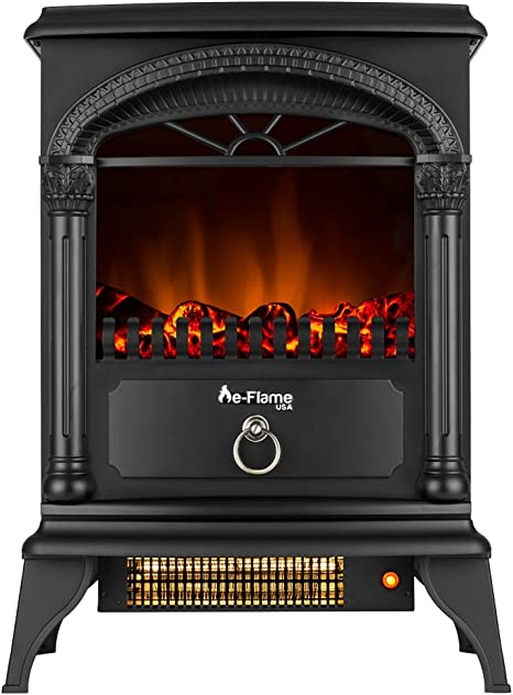 Hamilton 22 Inch Portable Free Standing 1500w Electric Fireplace Stove With Realistic Fire And Vintage Logs Black Amazon Ca Home Kitchen