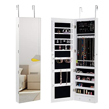Superbe Giantex Wall Jewelry Armoire With Mirror Door Mounted Jewelry Cabinet  Storage Organizer W/LED Lights