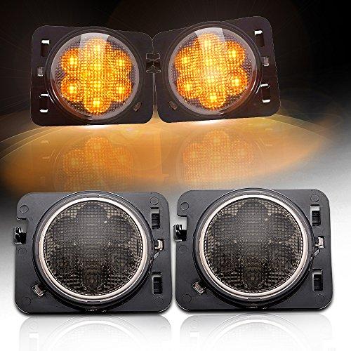 SEUYA LED Fender Side Light LED Side Maker Lights with Smoked Lens Amber LED for 2007-2017 Jeep Wrangler JK Unlimited 1 Pair