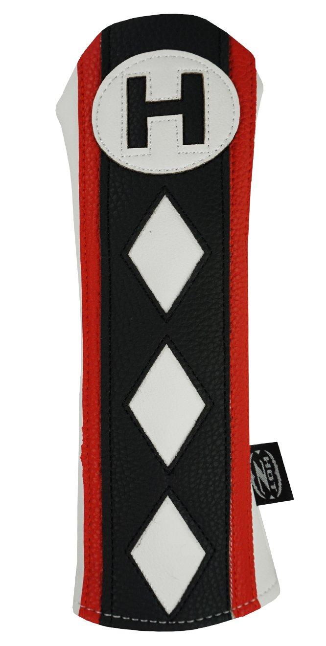 hot-zゴルフ# Hハイブリッドウッド用ヘッドカバー B01D06BFDG White/Black/Red Stripe