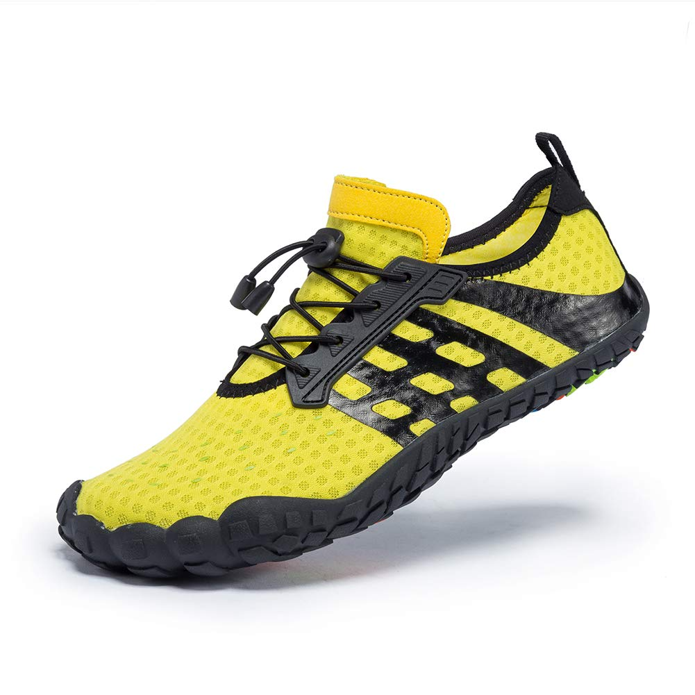 07724bc317221a Galleon - FEIFAN Men Women Water Shoes Quick Dry Adult Beach Swim Barefoot  Lightweight Shoes FiveFingers Water Shoes Yellow 38