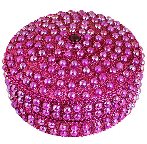 SKAVIJ Metal and Bead Handmade Decorative Jewelry Gift Box (4 Inch, Pink) (Beaded Jewelry Box)