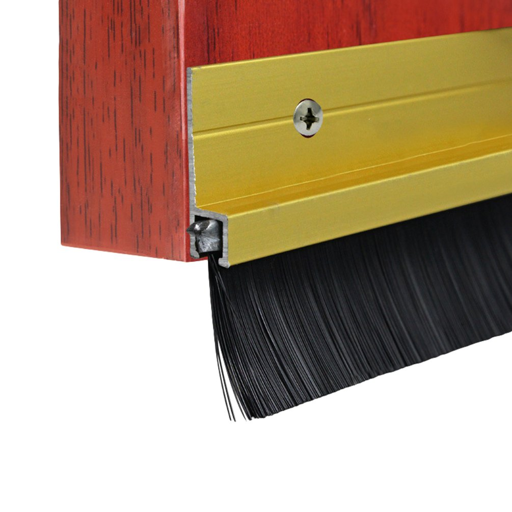 Lvguang Autocollant en bas de la porte brosse Boudin d'étanchéité d'Air Anti Souris Cafard Argent Longueur de brosse: 15mm