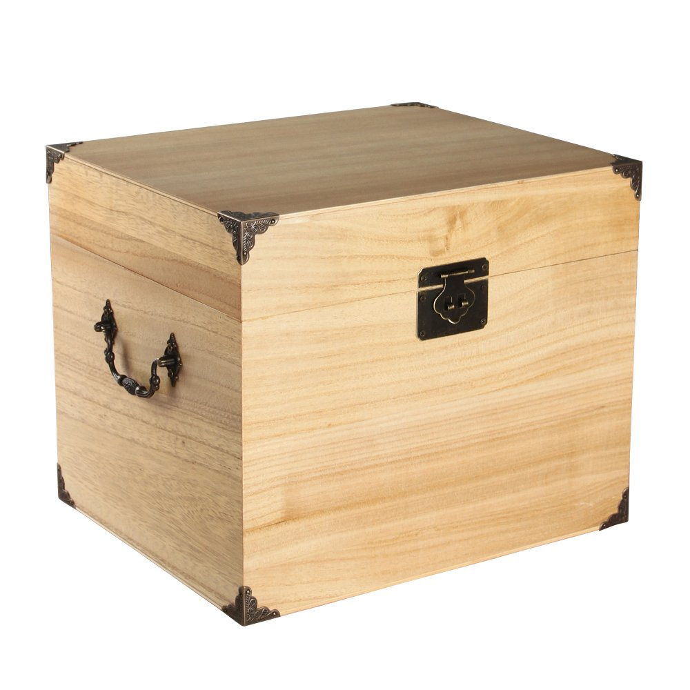 Ivy Lane Design Wedding Card Box, Solid Top, Light Stain
