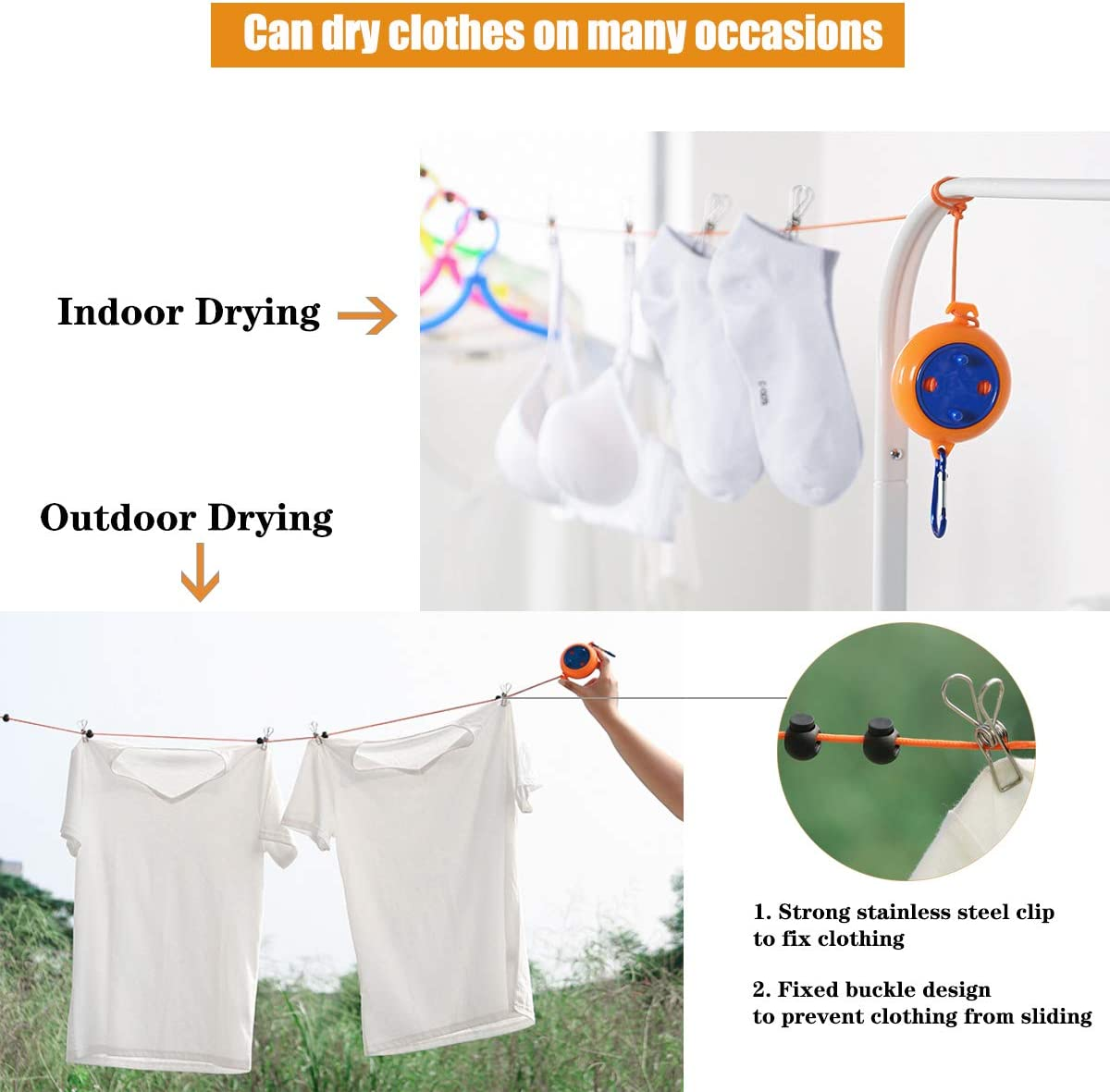 Retractable Washing Line 8 Meters Laundry Clothes Lines Outdoor Camping Adjustable Travel Portable Washing Line With Fixed Buckle And 20 Clothespins
