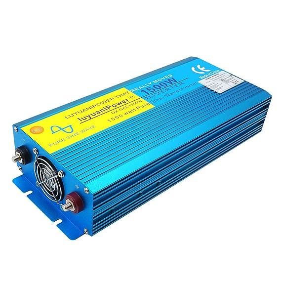 Yinleader Inversor De Corriente Onda Sinusoidal Pura 1500W 3000W Transformador De 12v A 230v, Inversor con 2 zócalo del Reino Unido Y LCD para Coche ...
