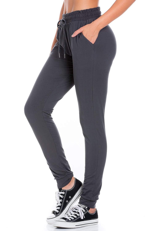 Charcoal My Yuccie Women's Super Soft Comfy Print Jogger Pants with Zipper Side Pockets (S  XL)