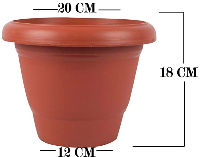 First Smart Deal 8 Inch Planter Pot With 6 Inch Tray Pack of 8 - Brown