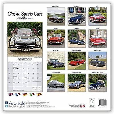 Sports Cars Calendar - Classic Sports Cars Calendar- Calendars 2017 - 2018 Wall Calendars - Car Calendar - Automobile Calendar - Classic Sports Cars 16 Month Wall Calendar by Avonside