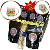 3dRose Anne Marie Baugh - Designs - Cute Primary Colors School Words Over Stripes With Digital Bow - Coffee Gift Baskets - Coffee Gift Basket (cgb_282891_1)