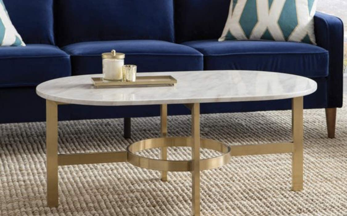 Design Tree Home Versailles 42 Marble Top Coffee Table with Stainless Steel Antique Brass Gold Base