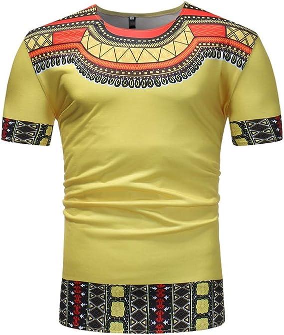 JURTEE Camiseta para Hombre Estilo Africano Slim Fit Pullover Polo Manga Corta Blusa Cuello Redondo Top Camisa Verano T-Shirt: Amazon.es: Ropa y accesorios