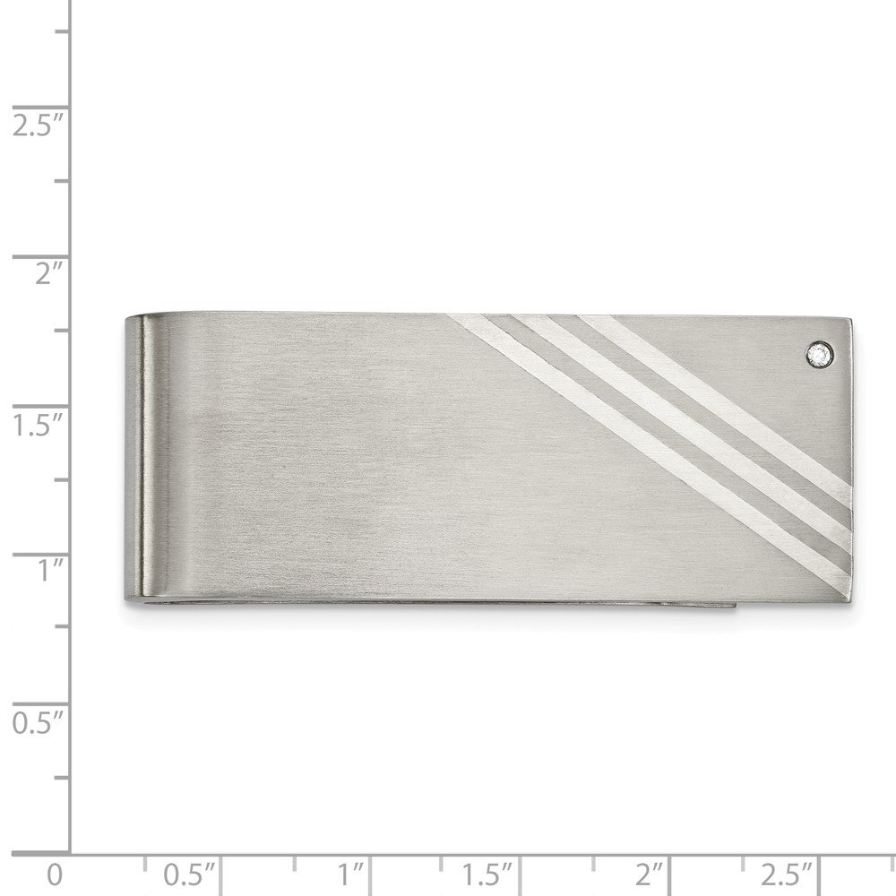 Stainless Steel Inlay Brushed CZ Money Clip Mens 25.24 mm 63.56 mm Sterling Silver Money Clips Accessory