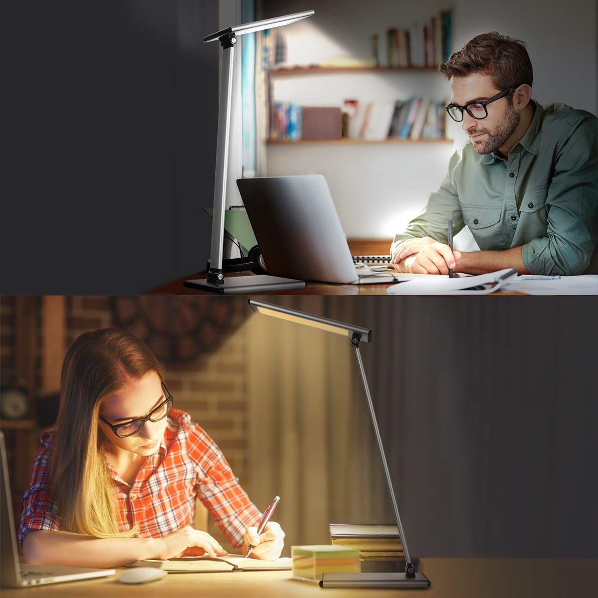 LED Desk Lamp - Aluminum Alloy Dimmable Table Lamps, Eye-Caring Office Lighting Study Lamp with Full Touch Control, Stepless Dimming and Faster USB Charging Port, 72 Non-Flicking LED Beads, Efficient