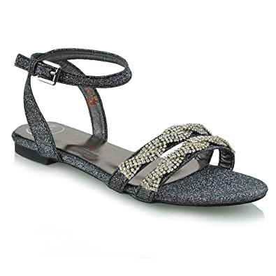 8150f6f5b53 ESSEX GLAM Womens Flat Strappy Sandals Ladies Diamante Glitter Holiday  Summer Beach Shoes