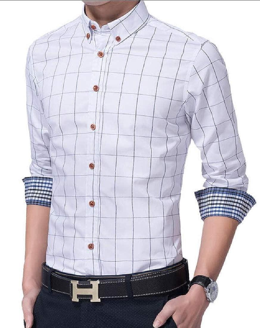 ZXFHZS Mens Plaid Casual Long Sleeve Slim Button Down Dress Shirts