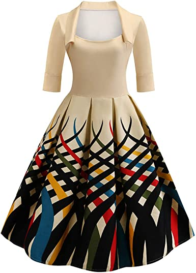 Women Vintage Bodycon Long Sleeve O Neck Evening Printing Party Prom Swing Dress Pandaie-Womens Dresses