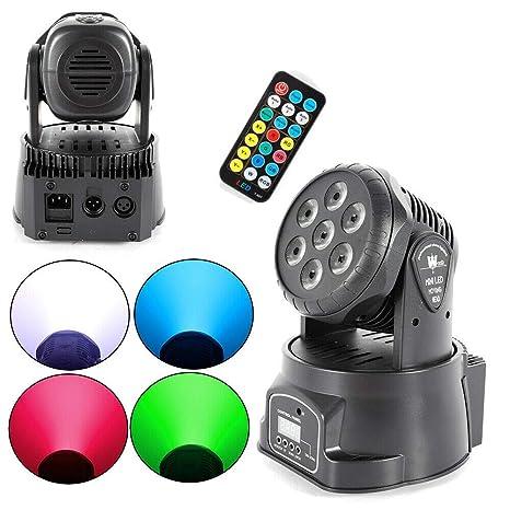DiLiBee 7 × 10W RGBW 4 en 1 Lámpara LED DMX512 DJ Cabeza Móvil ...