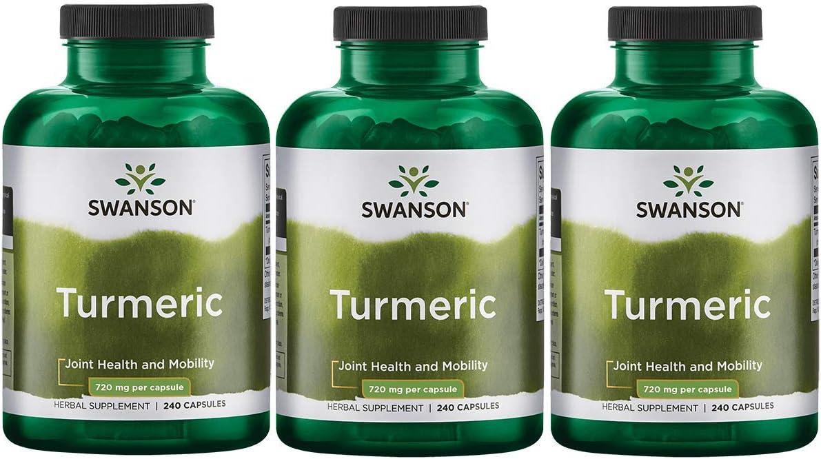 Swanson Turmeric Curcumin Antioxidant Joint Health Cardiovascular Liver Detox Mood Memory Support Supplement Curcuma Longa 720 mg per Cap 1.44 Grams per 2 Cap Serving Size 240 Capsules 3 Pack