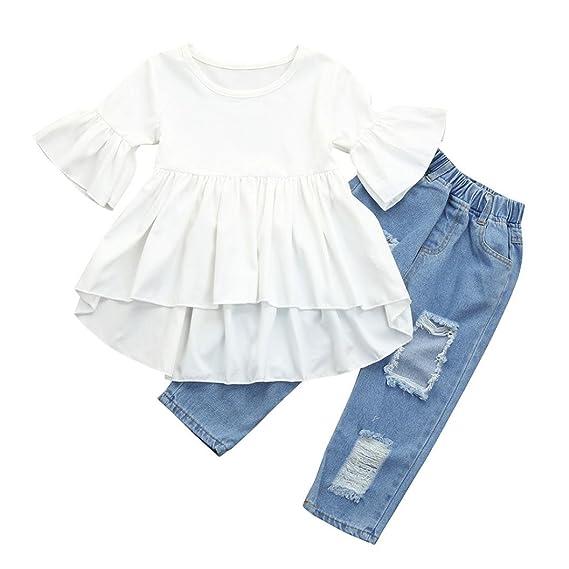 DRESS_start Conjuntos Para Bebé NiñAs Blusa Camiseta Tops Liso Con Manga De Cuerno + Pantalones Vaqueros
