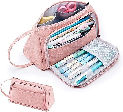 Estuche para lápices de Kalidi, gran capacidad, bolsa para lápices de escuela, papelería, maquillaje con asa para estudiantes, universidad, suministros de escuela media y oficina (Rosa): Amazon.es: Oficina y papelería