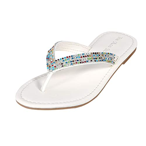 d2143b10516a7 The Shoe Story White Rainbow Leather Flip Flops Sandals for Women s   Ladies  ...