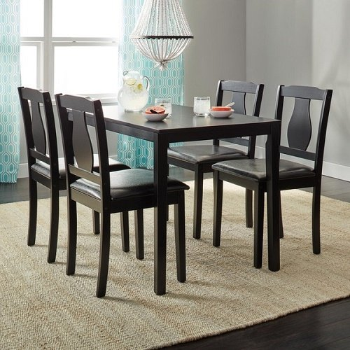 Home Living Black 5-piece Kaylee Dining Set One (1) Table with Four (4) Upholstered Chairs