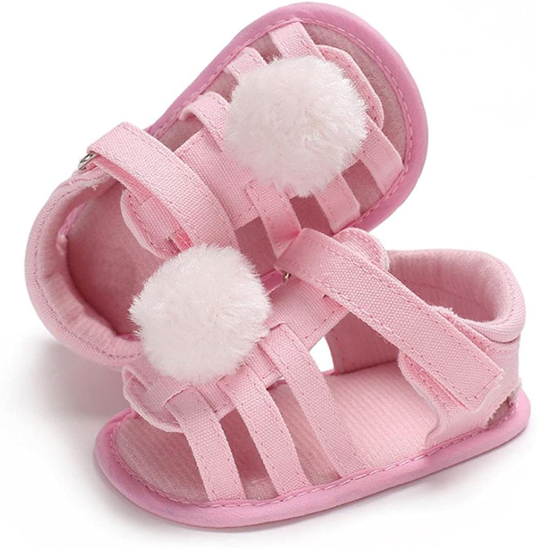 WARMSHOP Infant Girls Strap Flat Sandals Ball Soft Sole Summer Canvas Newborn First Walker Crib Shoes