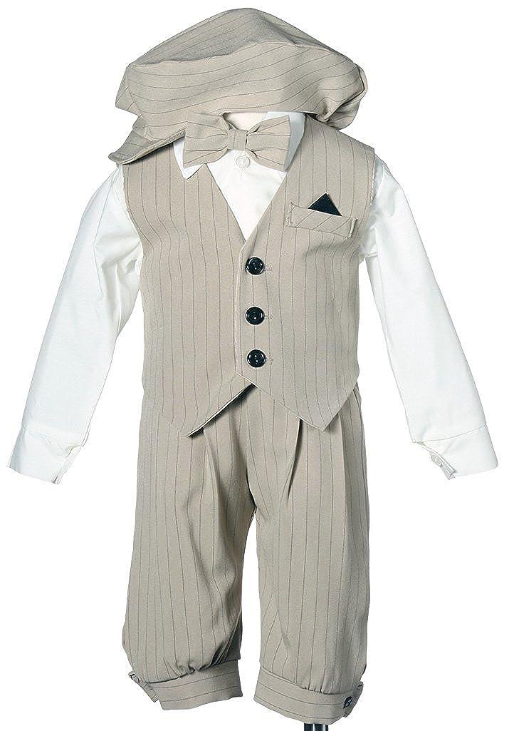 Boys Knicker Set With Vest and Hat - Vintage Sand/Black Stripe