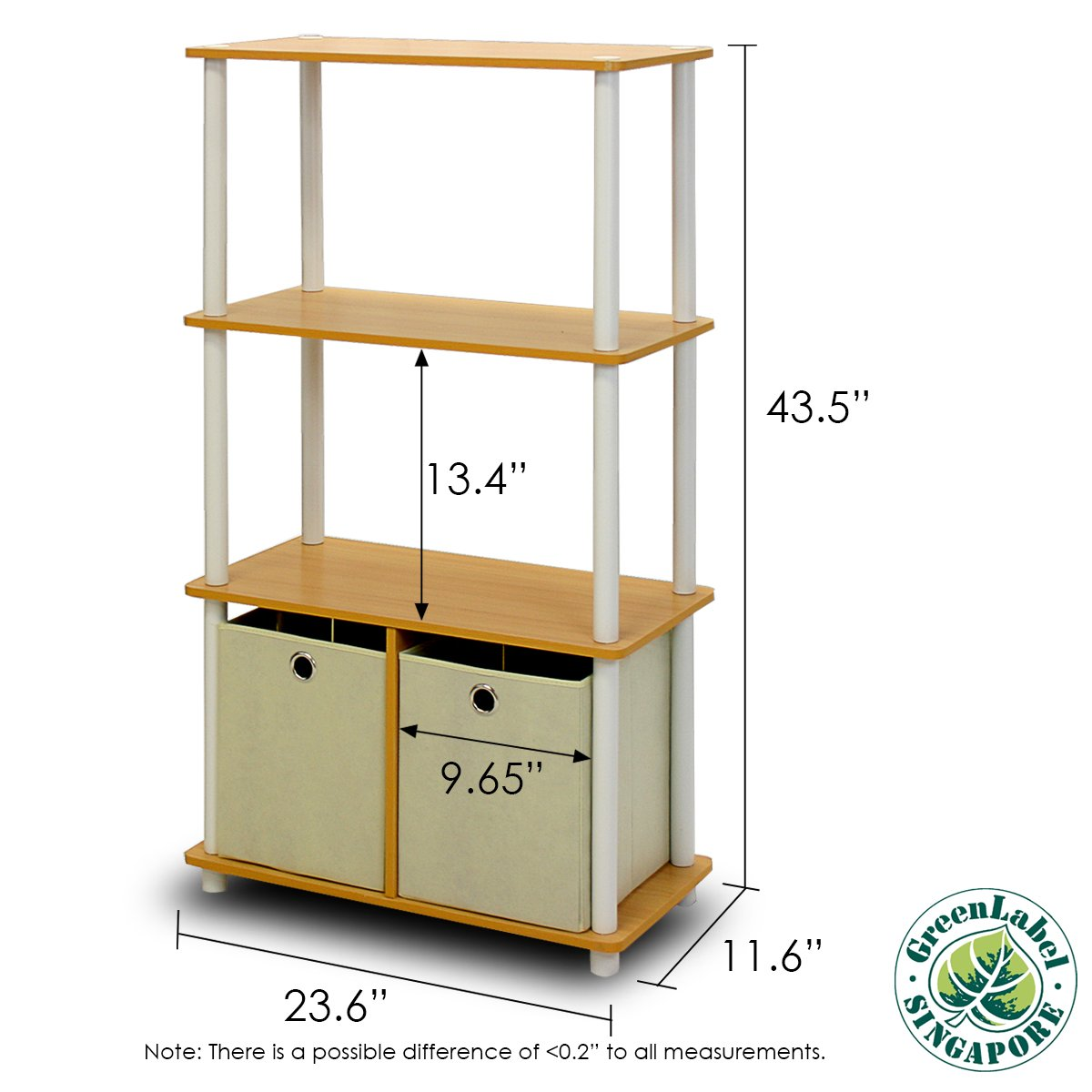 Furinno NW889BE/WH Go Green 4-Tier Multipurpose Storage Rack w/Bins, Beech/White by Furinno (Image #1)
