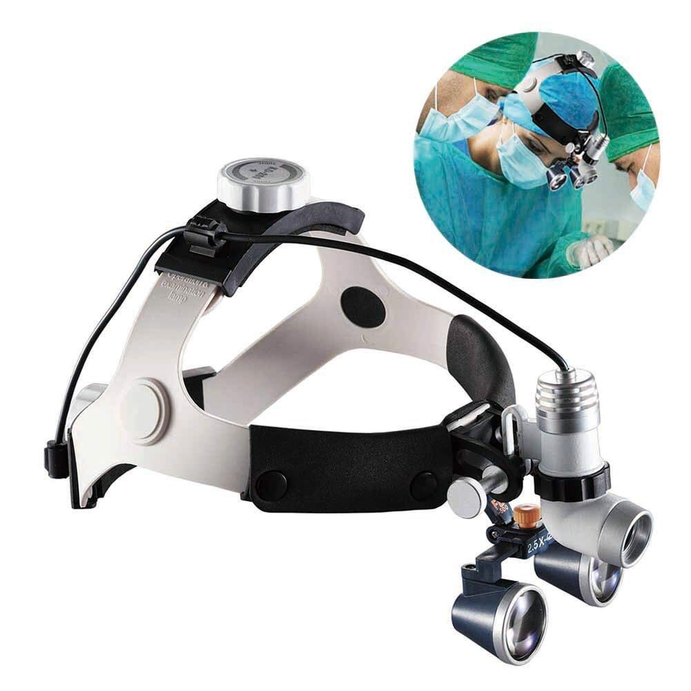Handheld magnifier 2.5X Double Eyes Hands Free Headband Magnifier, LED with Headlights Visor Glasses Magnifying - for Dental Medical Surgical,Jewelry Appraisal, And Miniature Engraving Multipurpose pe by LHBNH