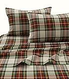 Tribeca Living CHAR170SHEETKI Charleston Plaid Flannel Deep Pocket Sheet Set, King,