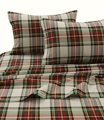 Tribeca Living CHAR170SHEETKI Charleston Plaid Flannel Deep Pocket Sheet Set, King, (Best Deep Pocket Flannel Sheets)