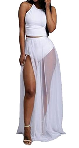 Womens Sexy 2 Pieces Outfits Chiffon Wrapped Crop Top Skirt Bandage Club Dress
