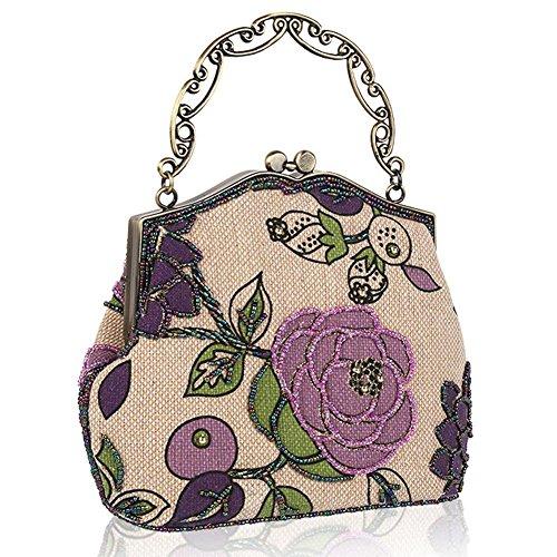 Women's Beaded 23 Dinner Bag Vintage X 22 Purse Party Evening Luxury Handbag 5cm Clutche NVBAO purple 1qATdSxnS