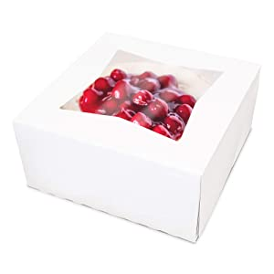 "[25 Pack] Pie/Cake Box with Window 8x8x4"" - White Cardboard Bakery Packaging for Cupcake, Cookies and Pastry, Auto-Popup Restaurant Containers and Personalized Favors"