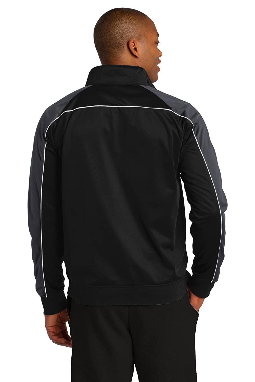 Sport-Tek/® Piped Tricot Track Jacket Large Black// Iron Grey// White