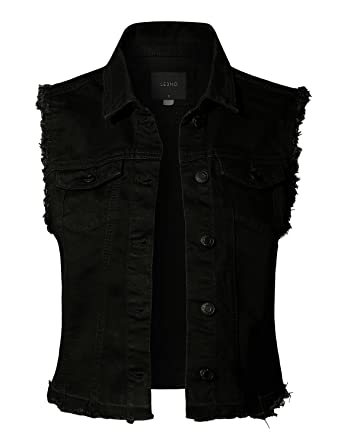 LE3NO Womens Basic Distressed Frayed Sleeveless Button Up Denim Vest with  Pockets 554afca086