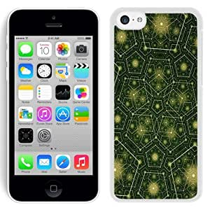 NEW Unique Custom Designed iPhone 5C Phone Case With Pentagons Green Yellow Pattern_White Phone Case