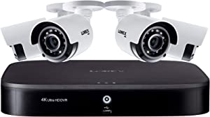 Lorex Weatherproof Indoor/Outdoor Wired 4K Ultra HD Security Bullet Camera w/Long Range Color Night Vision and Wide Field of View (4 Pack) - Includes 8 Channel 4K DVR w/1 TB Storage Hard Drive