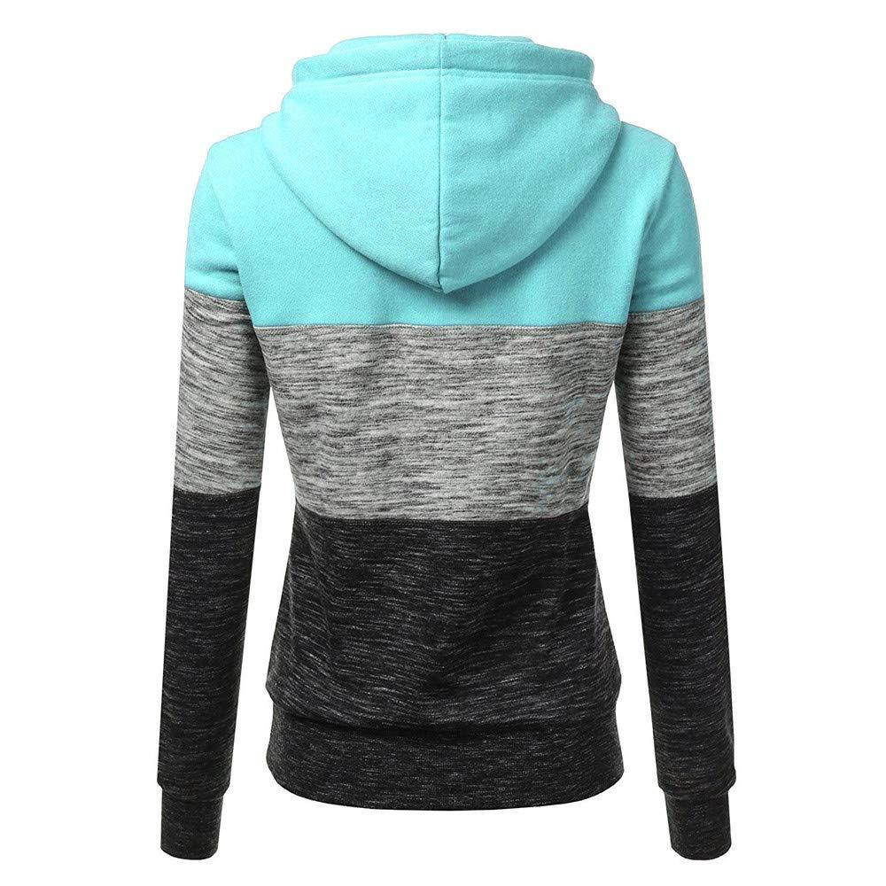 HiGOGO Hooded Sweatshirt Womens Fashion Patchwork Pullover Hoodies Sweatshirt Plus Size Outshirt