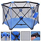 Baby Playpen Playard Portable Folding Outdoor Indoor Safety Free Standing (Blue)